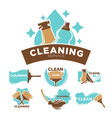 cleaning service promotional emblems set with vector image
