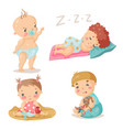 kids cute babies in different situations colorful vector image