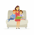 mother reads a fairytale - cartoon people vector image