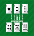 poker playing cards deck spade playing green vector image