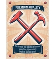 Two retro hammers tool shop poster vector image