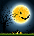Halloween full moon party at night vector image vector image
