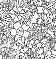 Black doodle flowers pattern vector image vector image