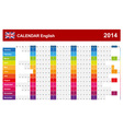 Calendar 2014 English Type 14 vector image