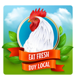 White Rooster Head Advertisement Poster vector image
