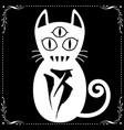 three eyed white cat with floral frame ornament vector image vector image