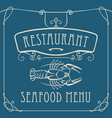 seafood restaurant menu with crayfish vector image