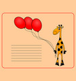 card with cheerful giraffe vector image vector image