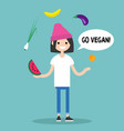 modern lifestyle go vegan young character vector image