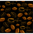 Seamless pattern with handdrawn coffee cups beans vector image vector image