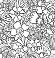 Black doodle flowers pattern vector image