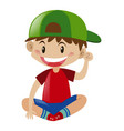 boy in red shirt sitting vector image