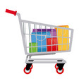 cart shopping paper bag gift commerce vector image