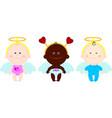 children angels wings hearts vector image