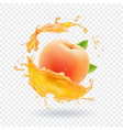 peach juice realistic fresh fruit splash of juice vector image