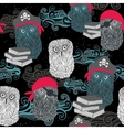 Seamless pattern with owl pirates vector image