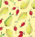 Seamless Patterns with watercolor pears and vector image