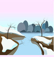winter landscape with frozen water and snow on vector image