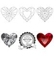 Set of heart cut jewel views vector image