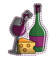 sticker glass splashing wine and bottle and cheese vector image