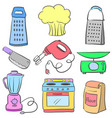 doodle of kitchen set equipment colorful vector image
