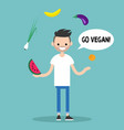 modern lifestyle go vegan young bearded man vector image