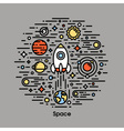 Planets stars and rocket Space icons vector image