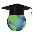 Graduation hat on globe vector image