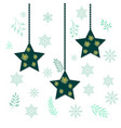 christmas holiday hanging stars vector image