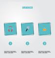 flat icons tambourine karaoke earphone and other vector image