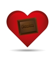 heart cartoon chocolate bar sweet icon design vector image