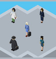 isometric person set of detective hostess doctor vector image