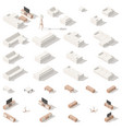 living room low poly isometric icon set vector image