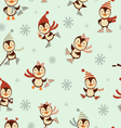 Ice skating penguins pattern vector image