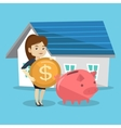 Woman puts money into piggy bank for buying house vector image