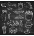 Chalk drawing of fast food on blackboard vector image
