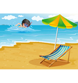 A boy swimming at the beach with an umbrella and a vector image vector image
