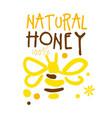 natural honey logo colorful hand drawn vector image