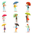 people with umbrellas smiling man and woman vector image
