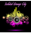 Grunge city background music vector image