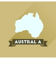 Flat icon with long shadow Australia map vector image