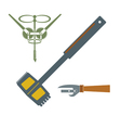 monochrome icon set with corkscrew can opener vector image