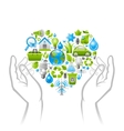 Ecological set with green concept icons in heart vector image