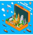 World Landmarks In Suitcase Isometric Poster vector image
