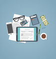 Business report tablet vector image