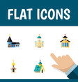 flat icon christian set of religious structure vector image