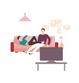 man and woman sitting and lying on comfortable vector image