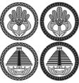 native american indian masks and pyramids vector image