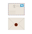 Old postage envelope with stamps isolated vector image
