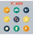 set of casino icons longshadow vector image